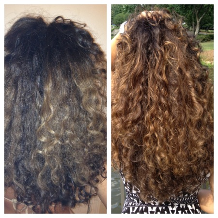 Before and after images using Shea Moisture Deep Treatment Masque