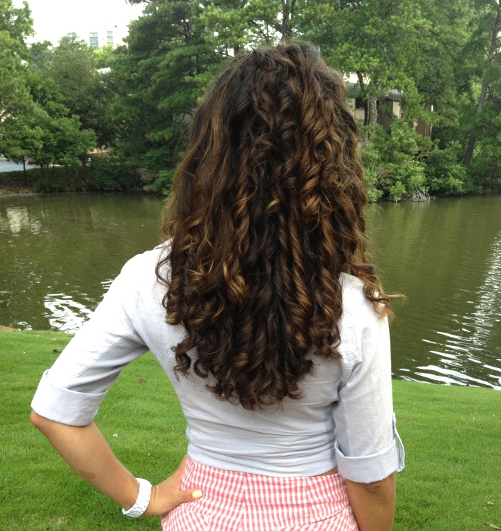 finger coiling long curly hair
