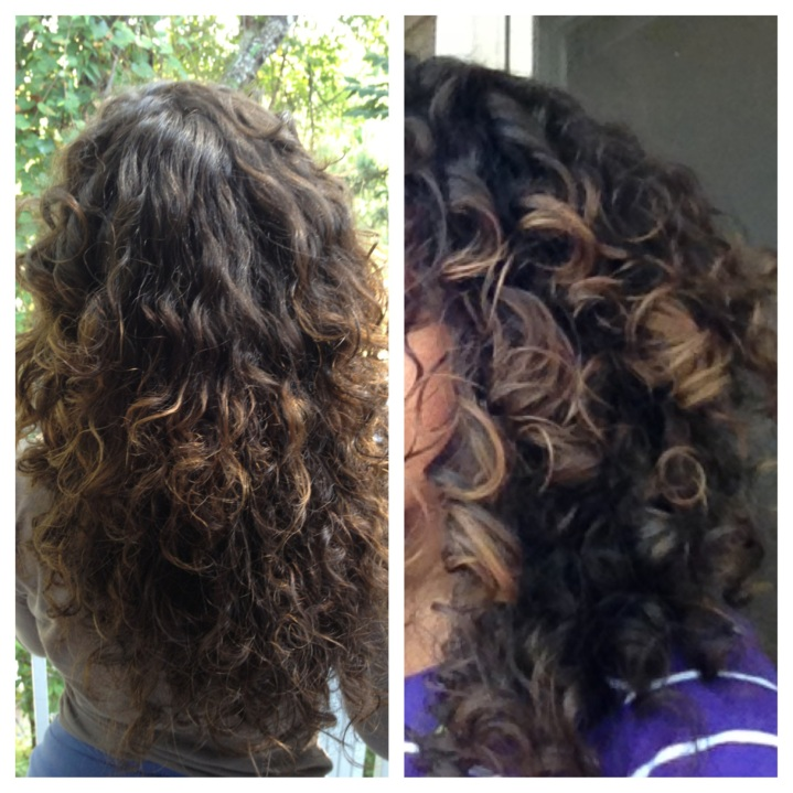 Before and after DIY Curl Refreshing Spray