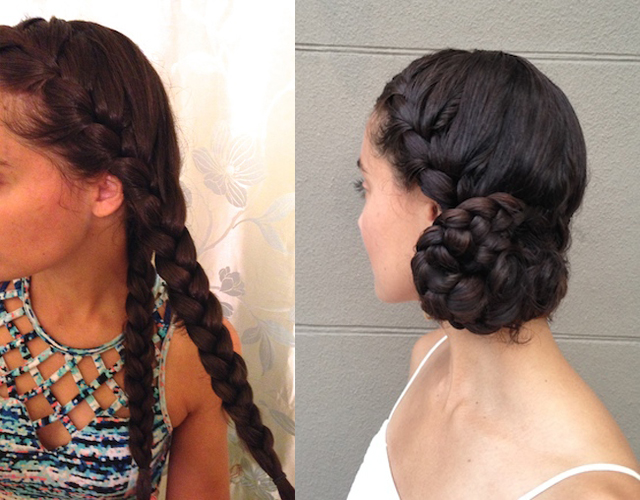 how to create a braided side bun on long hair